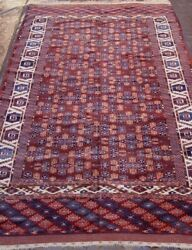 Antique Turkoman Yomoud Hand Knotted Wool Oriental Rug Hand-washed 6.3 X 10.8