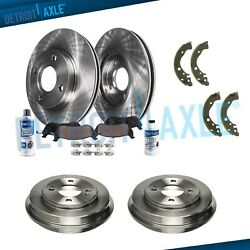 Front Rotors And Ceramic Pads + Rear Brake Drums And Shoes For 2009-2013 Honda Fit