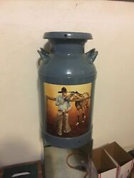 Vintage Antique Metal Dairy Farm Milk Container.budweiser Cowboy And Horse Label