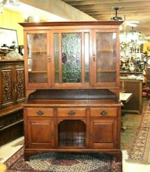 English Antique Oak Art And Craft Buffet / Hutch With Stained Glass