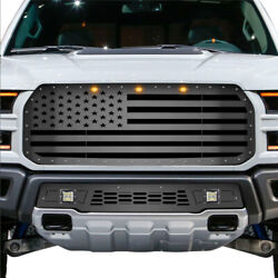 Steel Aftermarket Grille For 2017-2020 Ford Raptor Usa American Flag Straight