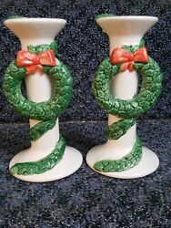 Department 56 Candle Sticks Christmas Kringles Hand Painted Ceramic Japan 6 1/2