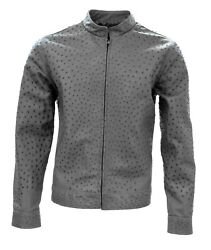 Menand039s Full Ostrich Genuine Leather Casual Jacket Western Wear Color Gray