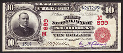 10 1902 Red Seal The First National Bank Of Aurora, Indiana Ch 699 Vf+
