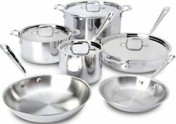 All-clad Sd5 Polished Stainless Steel 10 Pc Cookware Set - Brand New Sealed