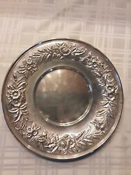 """Solid Sterling S Kirk And Son Inc Repousse 10"""" Plate Compote Tray 1925-1932"""