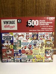 Kelloggs Vintage Retro Cereal Boxes 500 Pc Puzzle New And Sealed 11x18