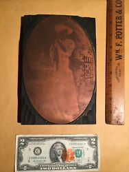 Antique Copper Printing Block Victorian Woman Fishing W Fish And Basket