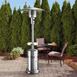 Fast Ship Members Mark 47000 Btu Patio Heater Led Table And Wheels Stainless Steel
