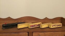 Antique Wooden Toy Train 1930's Streamliner Locomotive And 4 Train Cars