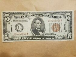 1934 A Hawaii 5 Silver Certificate World War 2 Wwii Ww2 Extremely Fine Ef