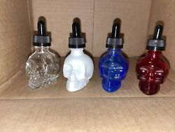 100 Crystal Head 30ml Empty Glass Skull Mini Bottles New With Droppers