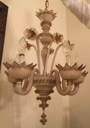 Magnificent Antique Vintage Murano Glass Chandelier - 5 Armswith Element Leaves