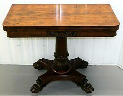 Regency Rosewood Turn Over Top Card Table On Stunning Paw Feet And Casters