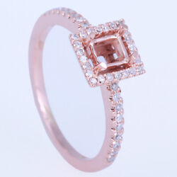 Fine Semi-mount Ring Cushion 4x4mm Solid 18k Rose Gold 0.25ct Natural Diamonds