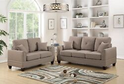 Coffee Cushion Couch Living Room 2pc Set Sofa Loveseat Cotton Blended Fabric