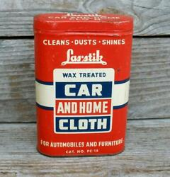 Vintage Las-stik Car And Home Cloth Tin Collectible Container Auto And Furniture