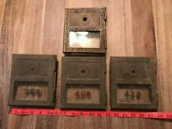 Lot Of 4 Vintage Antique Brass Mailbox Doors With Glass And Numbers 6 X 5 1/2