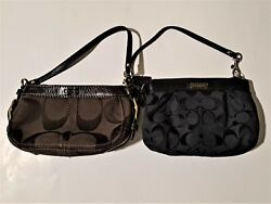 Lot of 2 Coach Wristlets Small Purses Brown Black Authentic $54.95