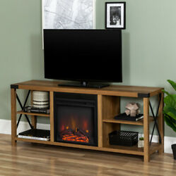 Tv Stand Electric Fireplace Heater Farmhouse Console For Tvs Up To 60 Brown