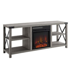 Tv Stand Electric Fireplace Heater Farmhouse Console For Tvs Up To 60 Gray