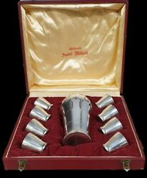 St Medard Rare Boxed French Art Deco Cocktail Set Shaker 8 Cups C1930