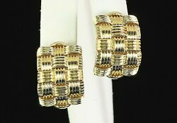 Roberto Coin 18k Yellow Gold Appassionata Woven Omega Back Post Clip On Earrings