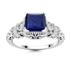 Certified Princess Blue Sapphire And Si Diamond Vintage Ring 14k White Gold