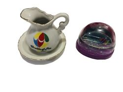 Vintage Worlds Of Fun Pitcher W/ Saucer Plate And Snow Globe