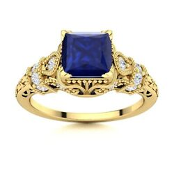 Certified Princess Blue Sapphire And Si Diamond Vintage Ring 14k Yellow Gold