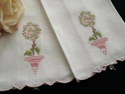 Pair Unused Vintage Hand Embroidered Linen Hand Towels Madeira Rose Bush