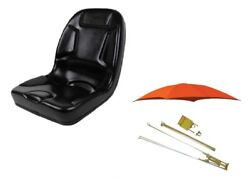 Kubota And Other Compact Tractors Seat And Rops Orange Canopy Set W/ Rollbar Mount