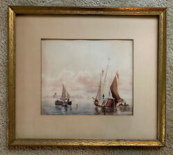 """Nathaniel Foster Browne 1870-1880 Watercolor Painting Sailboats 17"""" X 15"""" Framed"""