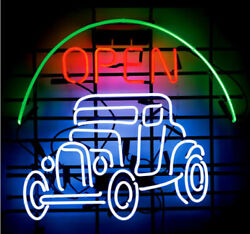 Open Car Vintage Auto Neon Sign Real Glass Light Tube Gameroom Beer Bar Pub