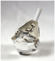 Pewter And Crystal Dreidel Handcrafted Using Crystal