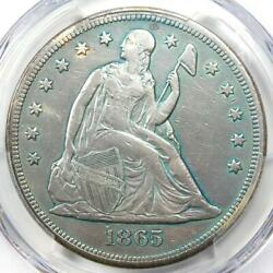 1865 Seated Liberty Silver Dollar 1 - Pcgs Vf Detail - Civil War Date Coin