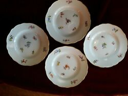 Set Of 4 Vintage Meissen Germany Scattered Flowers Pattern Bread And Butter Plates