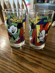 2 Anchor Hocking Disney Mickey Minnie Mouse Donald Juice Glasses Vintage
