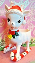 Vtg Christmas Rudolph Reindeer On Peppermint Skis Candy Dish Planter Relpo Japan