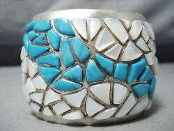One Of The Best Vintage Navajo Inlay Turquoise Sterling Silver Bracelet