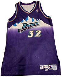 Karl Malone Game Used Utah Jazz Jersey Grey Flannel And Equipment Manager Loa Nba