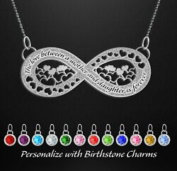 Mothers Day Personalized Birthstone Jewelry Infinity Mother Daughter Necklace $15.99