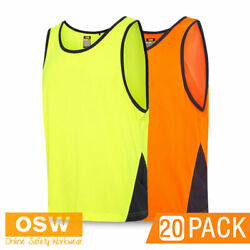 20 X Hi Vis Soft-touch Microfibre Quick Dry Breathable Tradie Work Trio Singlets