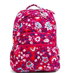 Vera Bradley Signature Cotton Bloom Berry Essential Large Backpack NWT $58.99