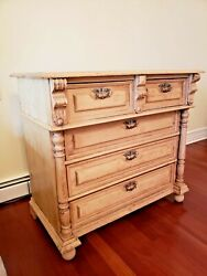Moving Sale Antique Pine 5 Drawers Chest/ Armoire / Cupboard 42 X 23 X 38