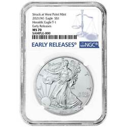 2021 W 1 American Silver Eagle Ngc Ms70 Blue Er Label