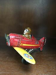 Marx Tin Windup Number 12 Red And Yellow Plane Toy