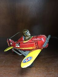 One-off Marx Tin Windup Number 12 Red And Yellow Plane Toy