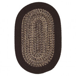 Puritan Brown Bordered Country Farmhouse Oval Braided Area Rug