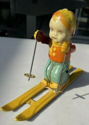 Vintage 1950s J Chein And Co, Tin Toy Wind Up Ski Skier Boy 157 Made In Usa